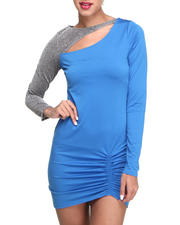 Women - Venessia Rouched Metallic Sleeve Dress