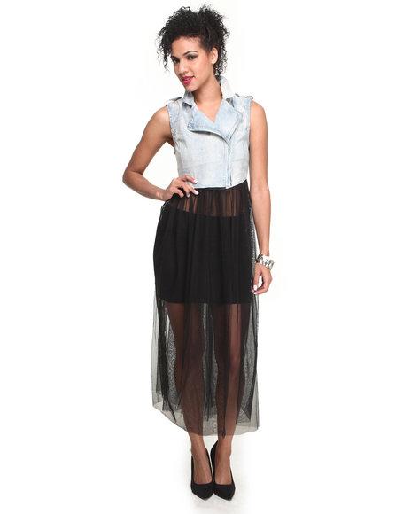 Fashion Lab - Women Blue Acid Wash Denim Vest W/Tulle