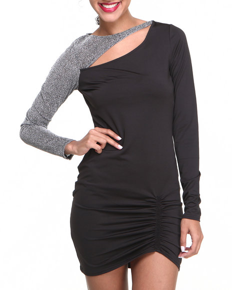 Baby Phat - Women Black Venessia Rouched Metallic Sleeve Dress