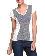 Women - Metallic Mesh Insert V-neck Tee