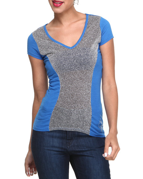 Baby Phat - Women Blue Metallic Mesh Insert V-Neck Tee