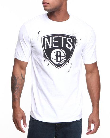 Nba, Mlb, Nfl Gear - Men White Brooklyn Nets Stencil Tee