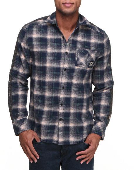 Basic Essentials - Men Navy Fearless Flannel Button-Down