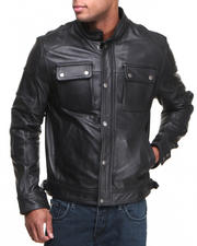 K & C Leather - Quilted Shoulder Dean Leather Jacket