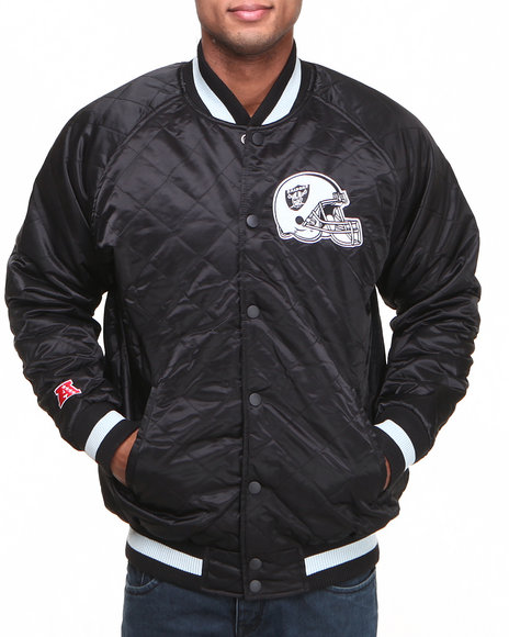 Nba, Mlb, Nfl Gear - Men Black Oakland Raiders Quilted Raglan Jacket - $72.99