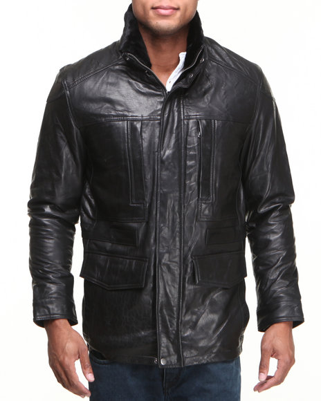 Drj Leather Shoppe - Men Black K & C Leather Puffer Jacket