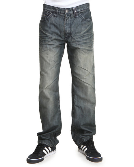 Pelle Pelle - Men Medium Wash Studded Turf Flap Denim Jeans - $39.99