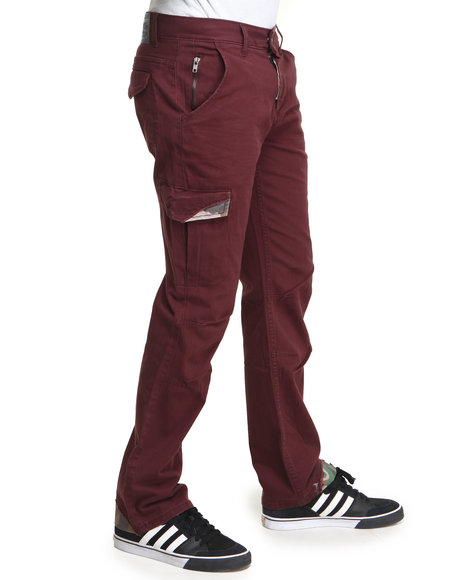 Basic Essentials - Men Red Slash Slim Fit Herringbone Twill Pants - $36.99