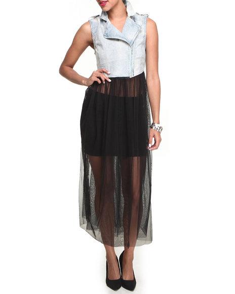 Fashion Lab - Acid Wash Denim Vest w/tulle