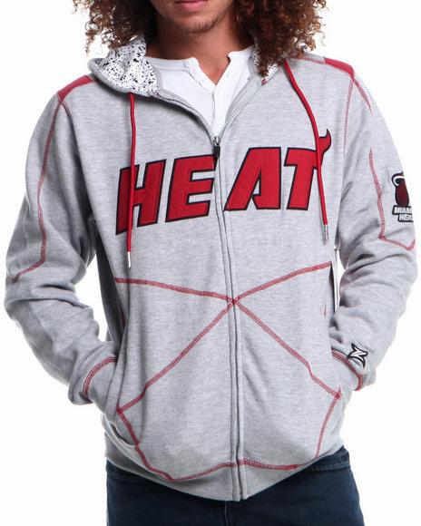 Nba, Mlb, Nfl Gear - Men Grey Miami Heat Tip Fleece Hoodie