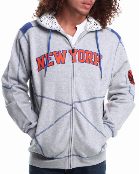 Nba, Mlb, Nfl Gear - Men Grey New York Knicks Tip Fleece Hoodie