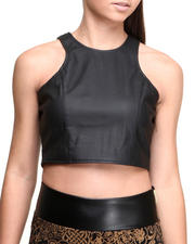 Women - Crop Vegan Leather Racer Back Top