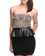 Women - Vick Animal Printed detail Strapless Peplum Bodycon Dress