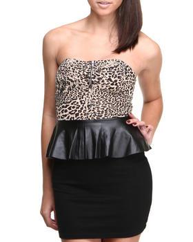 Fashion Lab - Vick Animal Printed detail Strapless Peplum Bodycon Dress