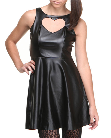 Fashion Lab - Women Black Heart Of Glass Vegan Leather Skater Dress W/Heart Back Cutout