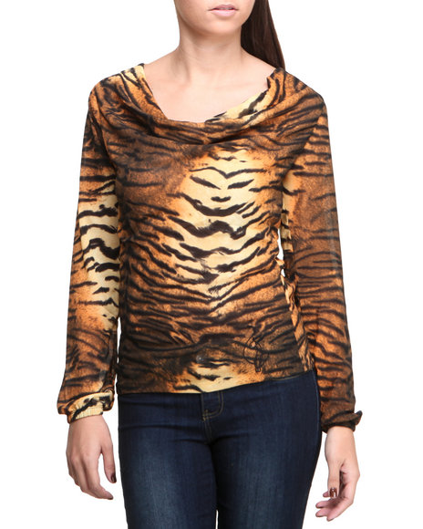 Baby Phat - Women Animal Print Chiffon Draped Tiger Print Top - $14.99
