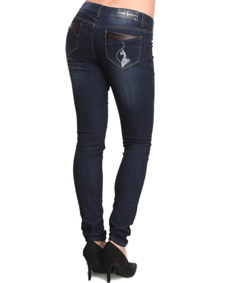 Baby Phat - Women Medium Wash Vegan Leather Trim Back Pocket Skinny Jean