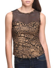 Baby Phat - Mesh Illusion Metallic Print Top