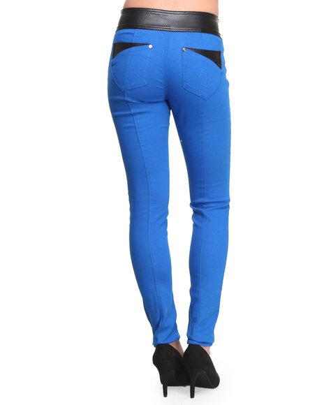 Baby Phat - Vegan Leather Trim Color Skinny Jean