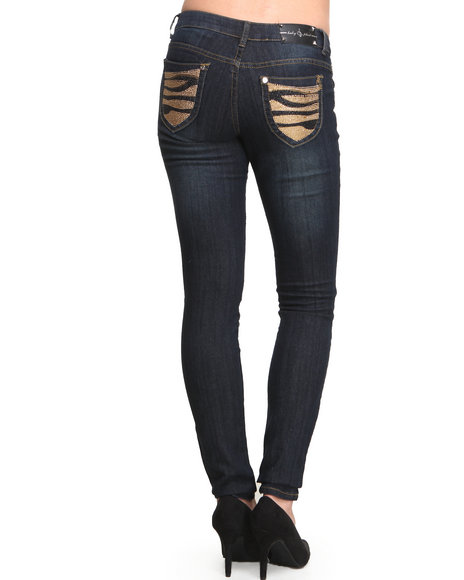 Baby Phat - Women Dark Wash Studded Tiger Back Pocket Skinny Jean