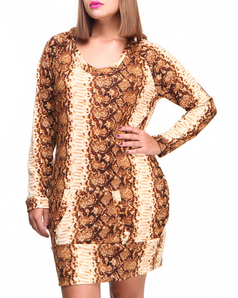 Apple Bottoms - Women Tan Snake Skin Printed Knit Hoodie Dress (Plus)