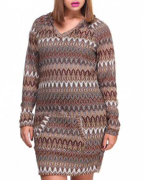 Apple Bottoms - Women Dark Red, Maroon, Brown Flame Stitch Knit Hoodie Dress (Plus)