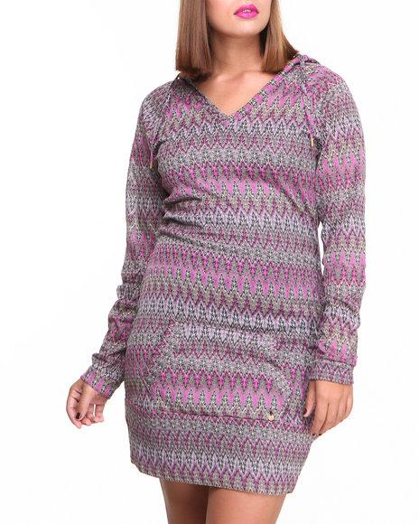 Apple Bottoms - Women Purple Flame Stitch Knit Hoodie Dress (Plus)