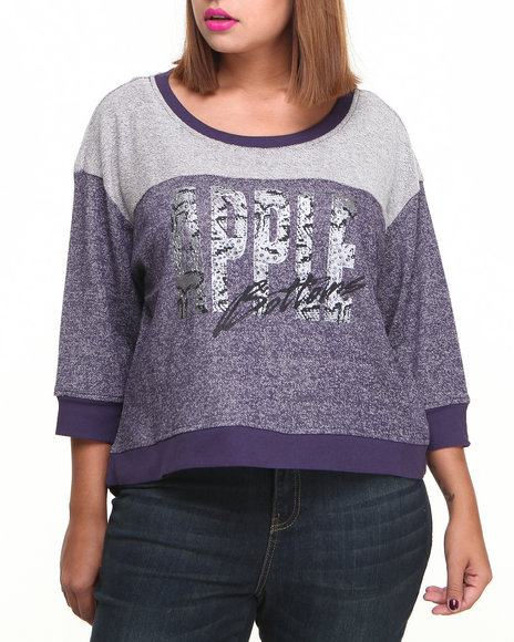 Apple Bottoms - Women Purple Colorblock Active Sweatshirt (Plus) - $11.99