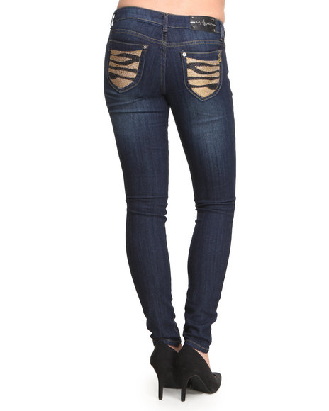 Baby Phat - Women Medium Wash Studded Tiger Back Pocket Skinny Jean