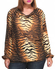 Baby Phat - Chiffon Draped Tiger Print Top (Plus)