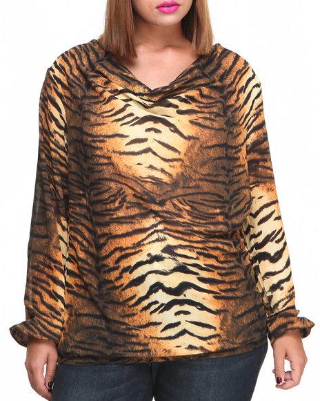 Baby Phat Women Animal Print Chiffon Draped Tiger Print Top (Plus)