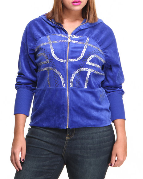 Apple Bottoms - Women Blue Gel Printed Zip Front Velour Hoodie (Plus)