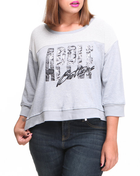 Apple Bottoms - Women Grey Colorblock Active Sweatshirt (Plus)
