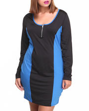 Plus Size - Scuba Colorblock Zip Trim Dress (Plus)