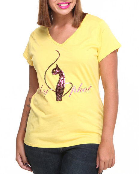 Baby Phat - Women Yellow V-Neck Sequin Core Tee (Plus)