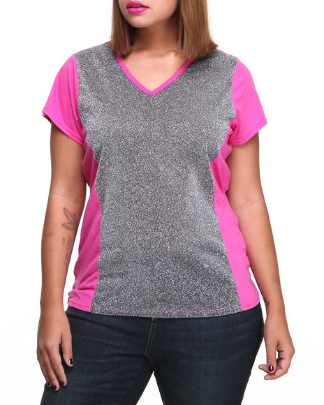 Baby Phat - Women Pink Metallic Mesh Insert V-Neck Tee (Plus)