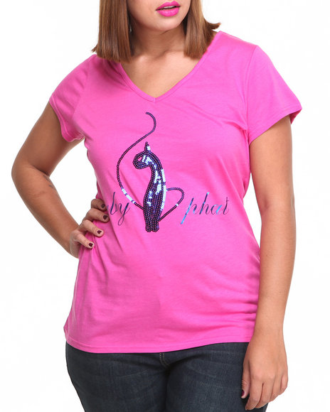 Baby Phat - Women Pink V-Neck Sequin Core Tee (Plus)