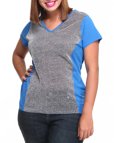 Baby Phat - Women Blue Metallic Mesh Insert V-Neck Tee (Plus)
