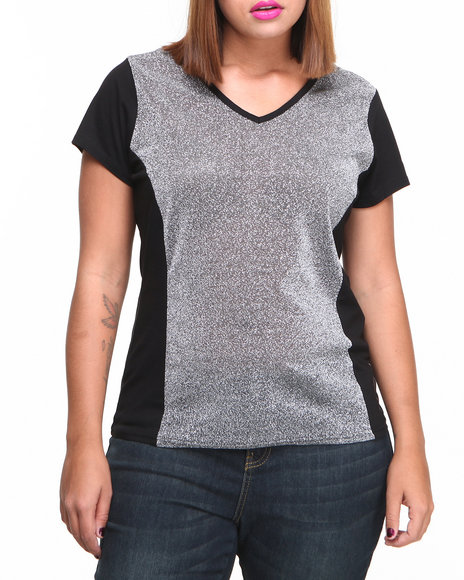 Baby Phat - Women Black Metallic Mesh Insert V-Neck Tee (Plus)