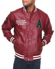 Basic Essentials - Pleather Varsity Jacket