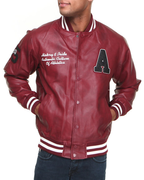 Basic Essentials - Men Maroon Pleather Varsity Jacket