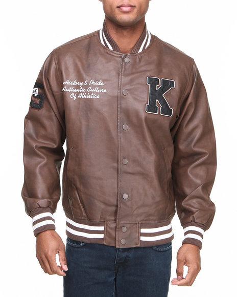 Basic Essentials Brown Pleather Varsity Jacket