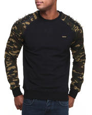 Pullover Sweatshirts - Spike Raglan Sleeve Crewneck Sweatshirt