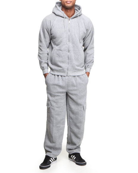Basic Essentials - Men Grey Hoodie And Sweatpants Set