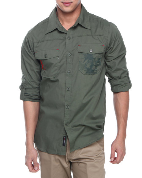 Enyce - Men Green Airborne Graphic L/S Button-Down