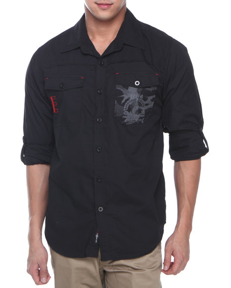 Enyce Black Airborne Graphic L/S Button-Down