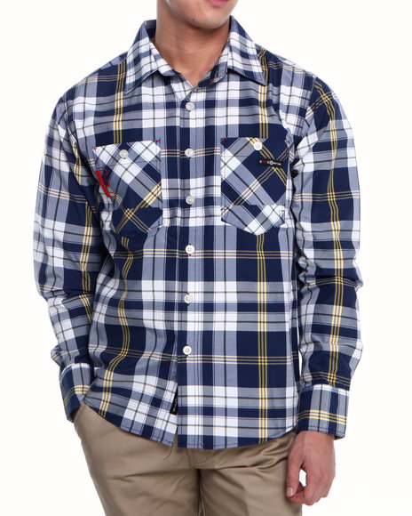 Enyce Navy Henry Plaid L/S Button-Down