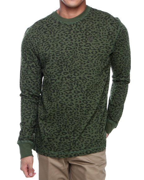 Enyce - Men Green Leopard L/S Printed Crew Thermal