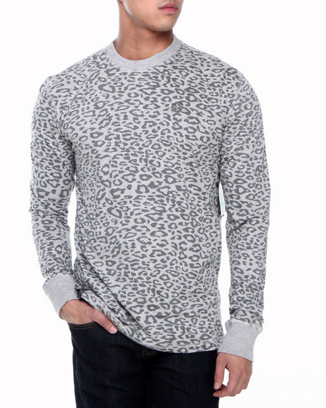 Enyce - Men Grey Leopard L/S Printed Crew Thermal