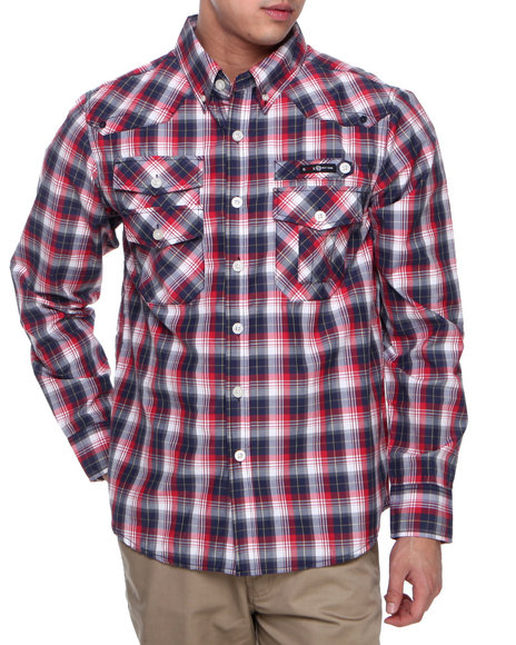 Enyce Navy Carter Plaid L/S Button-Down